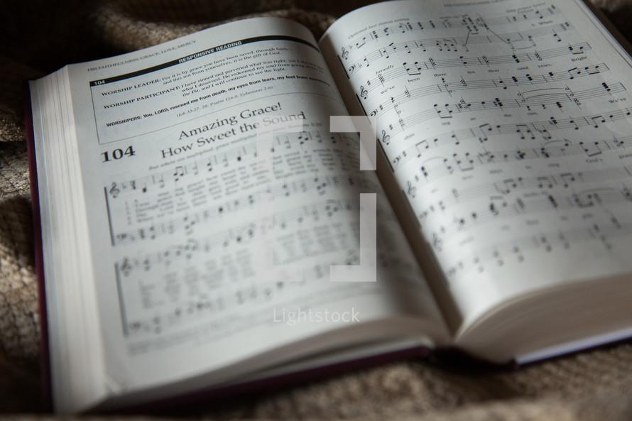 Amazing grace in a hymnal