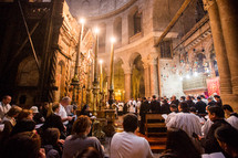 worship service  in the Church Of The Holy Sepulchre in Israel