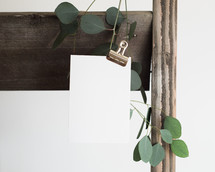 fence, clip, envelope and a twig with green leaves on white background