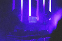 fog machine, man, on stage, microphone, DJ, Disc Jockey