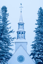 church steeple in snow
