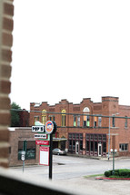 brick buildings and burger restaurant downtown