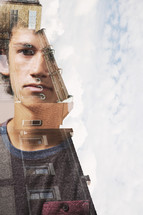 double exposure, face of a teen, brick building, windows, apartment