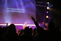 concert, stage lights, projection screen, man, on stage, audience, worship service, contemporary worship service