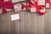 Christmas gift boxes and gift tag