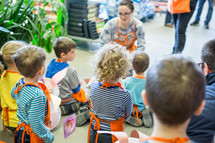 children in home depot aprons