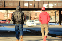 pedestrians walking on a road