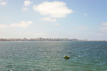 man rowing a boat and view of a city along a shoreline in Egypt