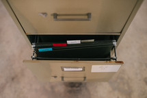 files in a filing cabinet