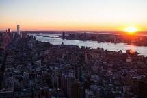 New York City skyline at sunset