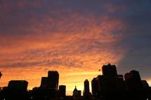 Night skyline silhouette
