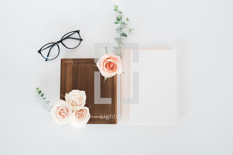 ribbon, invitations, wedding, flowers, roses, iPhone, reading glasses, glasses, white background, table, wood, tray, spool, fabric, shabby chic, feminine