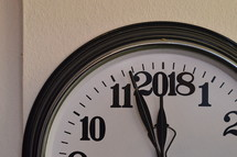 A clock showing the last minutes before the new year 2018 starts.