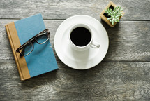 reading glasses, book, coffee, cup, saucer, house plant, succulent