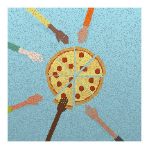hands reaching for pizza