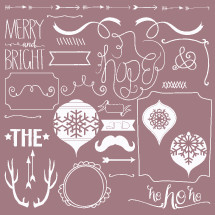 Merry and bright, ho ho ho, Christmas, antlers, frame, ornaments, hope, script, border, scroll, arrows, mustache, and, words, &, The, star, mirror, icon