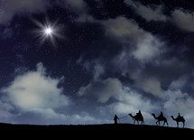Epiphany, North Star in the night sky guiding the way to baby Jesus