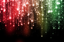 rainbow of falling twinkling light