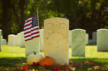 an American flag at a grave site