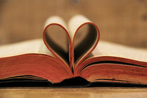 pages of a Bible olden into the shape of a heart