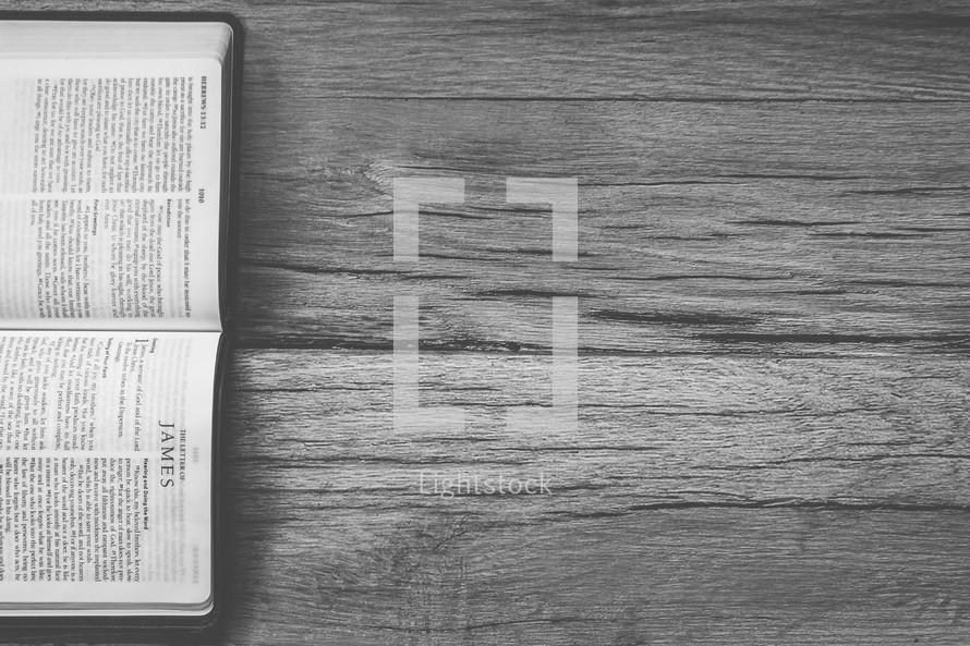 Sideways Bible opened to James