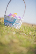 Easter basket full of eggs in the grass