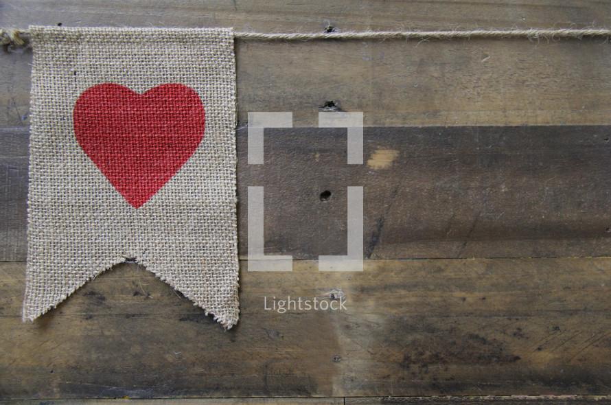 valentine heart on a burlap flag
