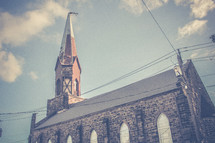 a steeple and church roof