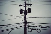 transformer, power lines, power poles, sky, clouds, electricity