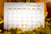 November 2014 Calendar and Thanksgiving
