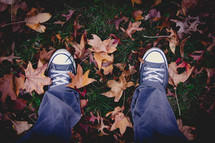 sneakers standing in fall leaves