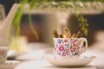 cookies in a tea cup