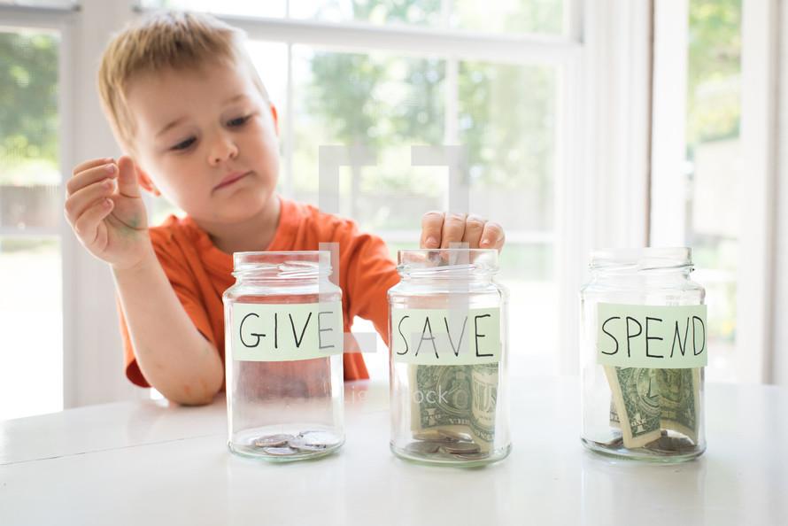 give save spend jars