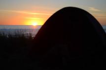 hill, ocean, beach, sunset, outdoors, mound