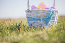 Easter basket full of eggs