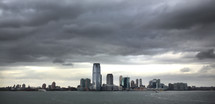 New York City sky scrapers across the harbor