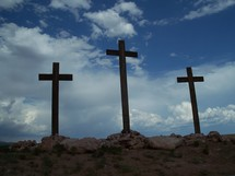 The three crosses of Jesus at Mount Calvary where Jesus was crucified