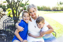 grandmother with her grandchildren