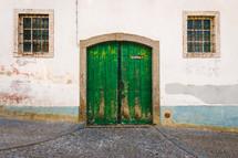 green wood door