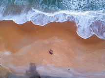aerial view over people on a beach