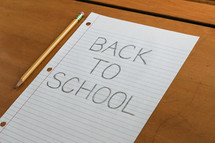 Back to School note on a desk