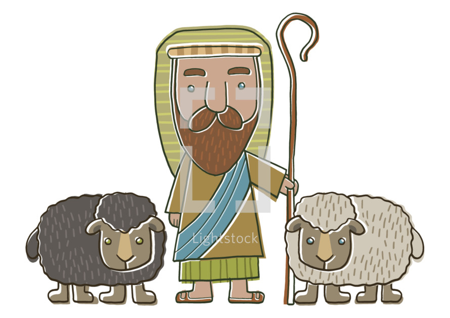 Nativity Shepherd and his sheep cartoon