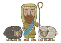 Nativity Shepherd and his sheep cartoon