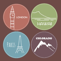 London, Hawaii, Paris, Colorado, travel, stickers, badges
