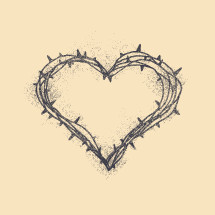 crown of thorns in the shape of a heart.