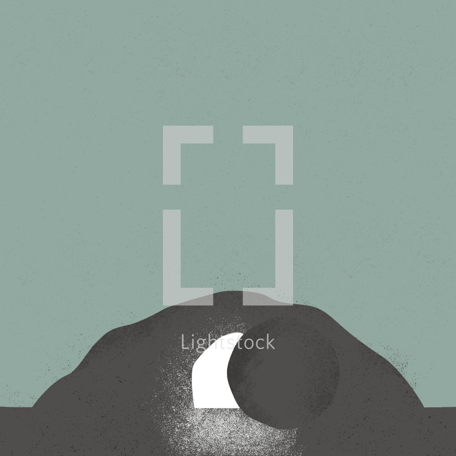 Empty tomb illustration.