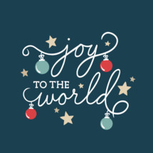 Joy to the world Christmas script with ornaments and stars