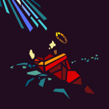 Jesus praying in the garden of gethsemane, depicted through modern stained glass.