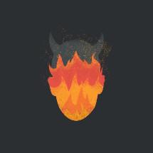 devil head silhouette with fiery flames.