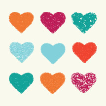 colorful textured hearts